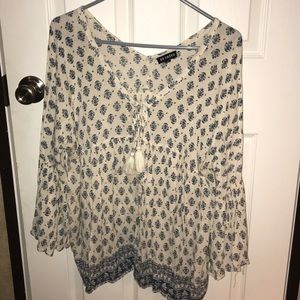 En Creme Blouse with Bell Sleeves